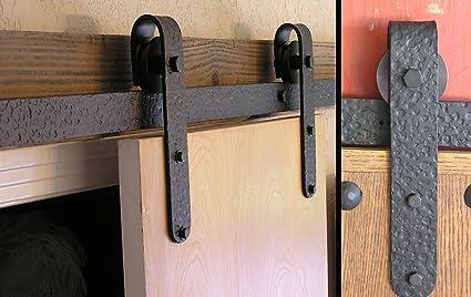 Agave Ironworks   6u0027 Sliding Barn Door Flat Track Rail/Rolling Door  Designer Kit
