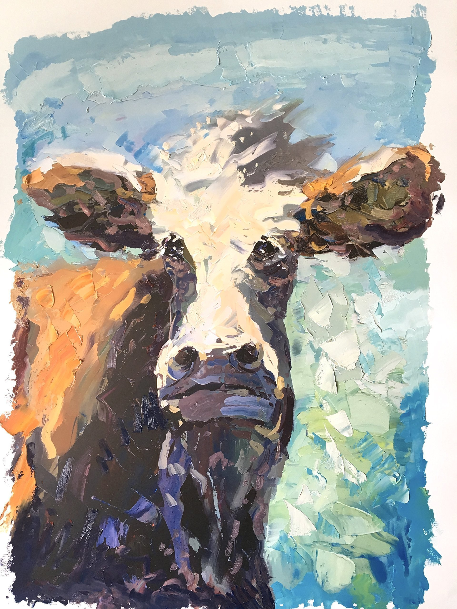 Agostino Veroni - Cow Art Oil Paper Mixed Media Face Brown Animal Folk Colorful Portrait Large Original Country Farmhouse Handmade Wall Art Home Decor Wall Rustic Gifts for Him Christmas Present