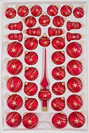 Amazon De 39 Tlg Glas Weihnachtskugeln Set In Ice Rot Gold Komet