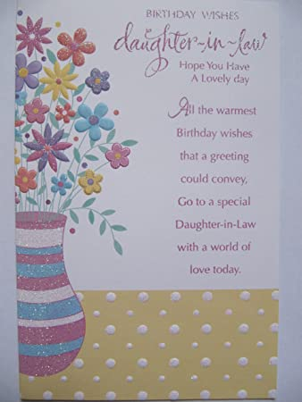Birthday Cards Family Glitter Beschichtet Blumen Beautiful Words Schwiegertochter Geburtstag Grusskarte