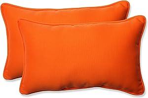 Pillow Perfect Outdoor Sundeck Corded Rectangular Throw Pillow, Orange, Set of 2