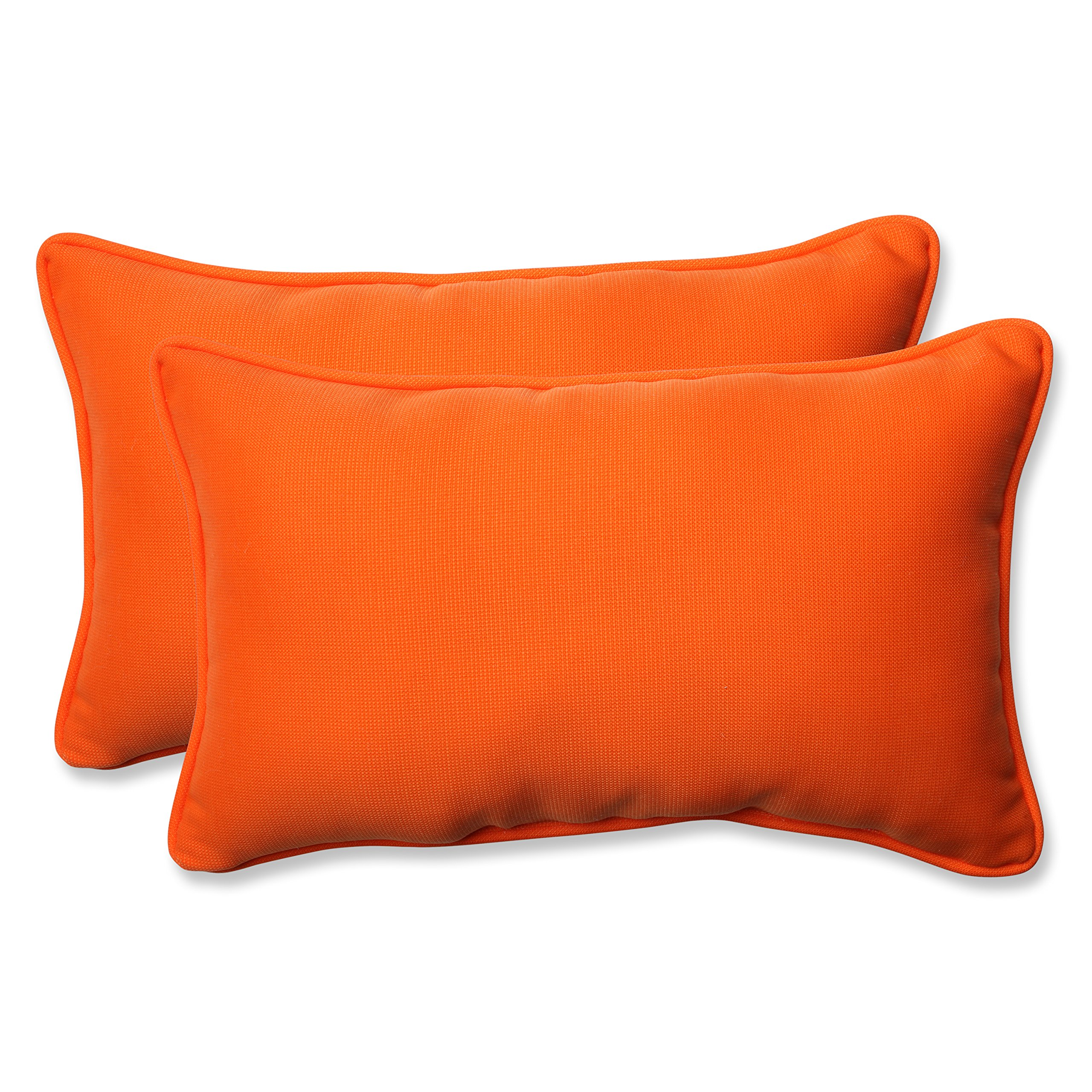 Pillow Perfect Outdoor Sundeck Corded Rectangular Throw Pillow, Orange, Set of 2