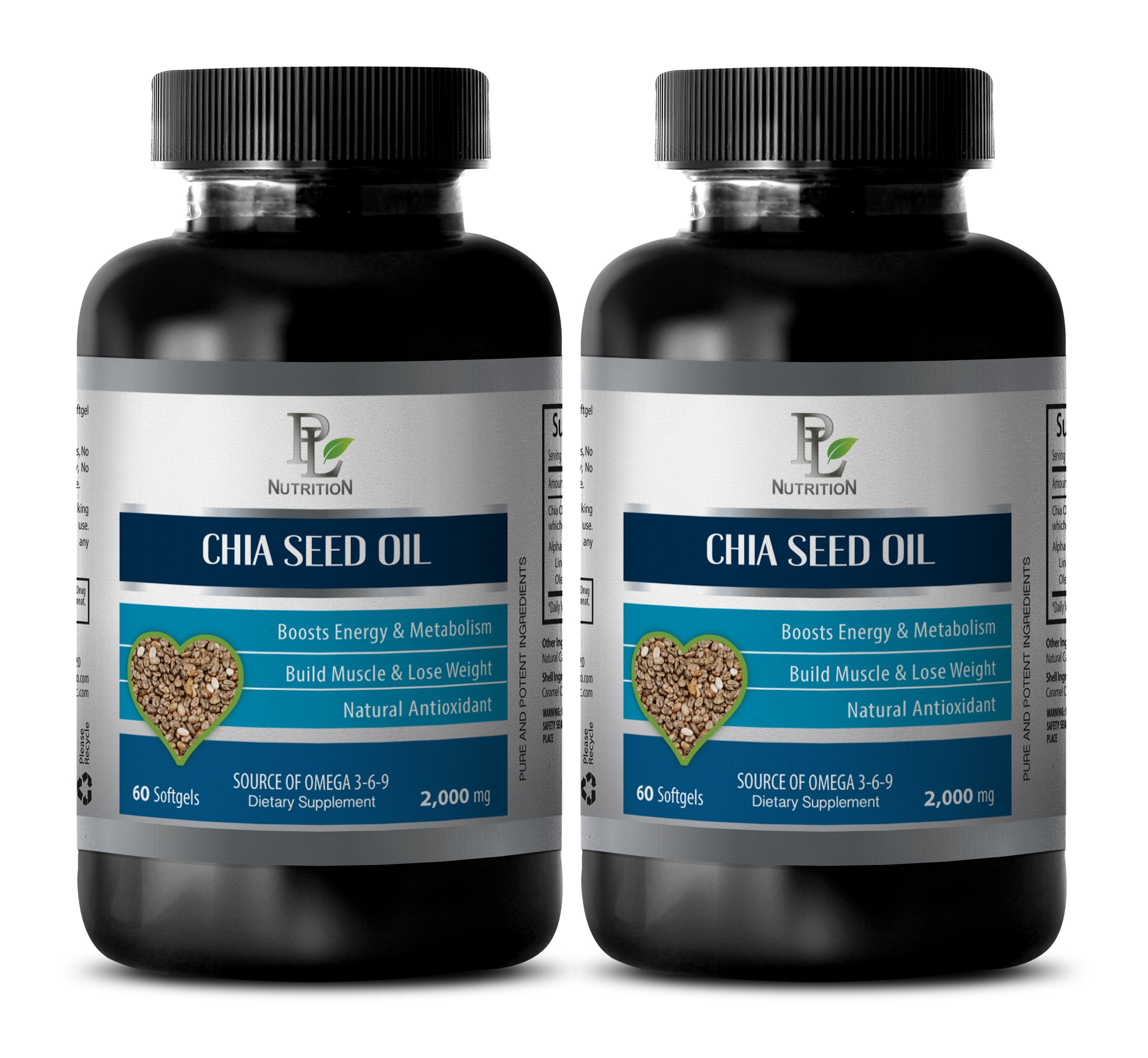 Brain Booster Pills - Chia Seed Oil 2000MG - Source of Omega 3-6-9 - Chia Seeds Bulk - 2 Bottles (120 Softgels) by PL NUTRITION