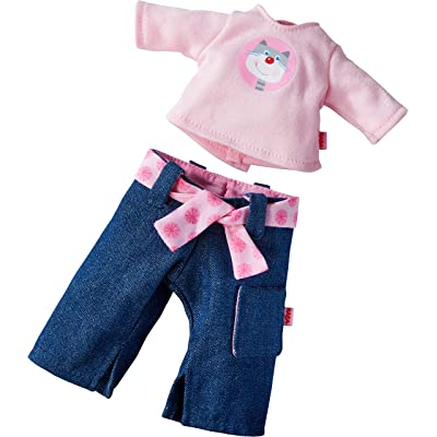 "HABA Rosanna Outfit for 12"" Soft Dolls - Denim Jeans, Long Sleeved Pink Shirt and Fabric Belt: Toys & Games"