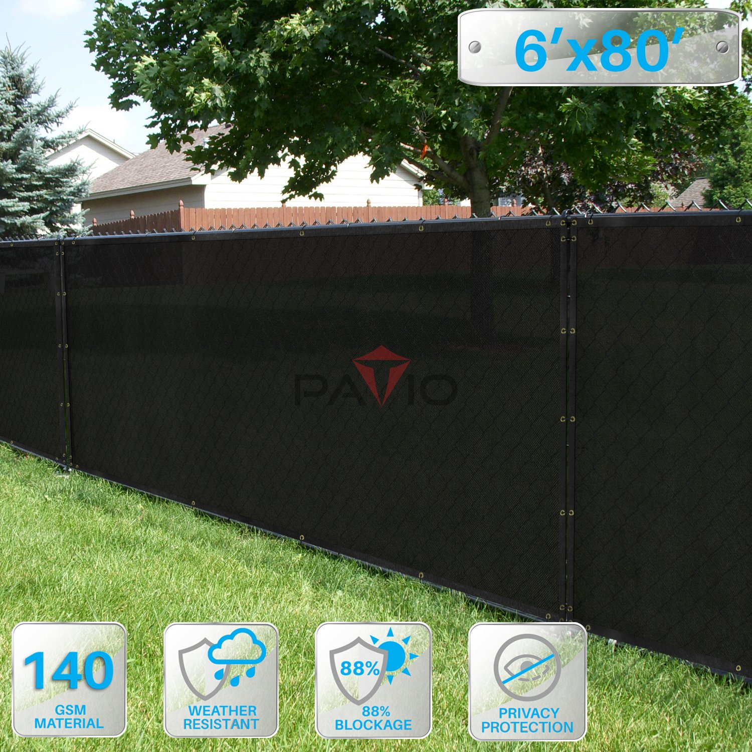 Patio Paradise 6' x 80' Black Fence Privacy Screen, Commercial Outdoor Backyard Shade Windscreen Mesh Fabric with brass Gromment 85% Blockage- 3 Years Warranty (Customized Sizes Available)