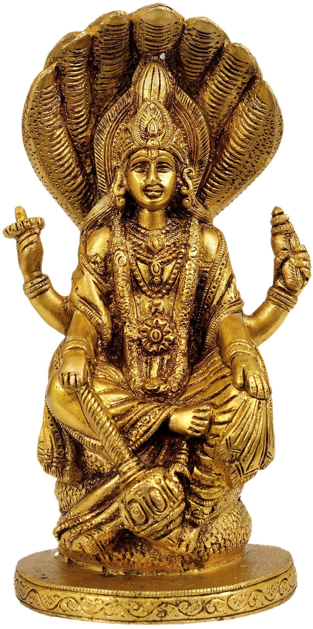 Lord Vishnu Seated on Sheshnag - Brass Statue