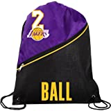 FOCO Los Angeles Lakers Official High End Diagonal Zipper Drawstring Backpack Gym Bag - Lonzo Ball