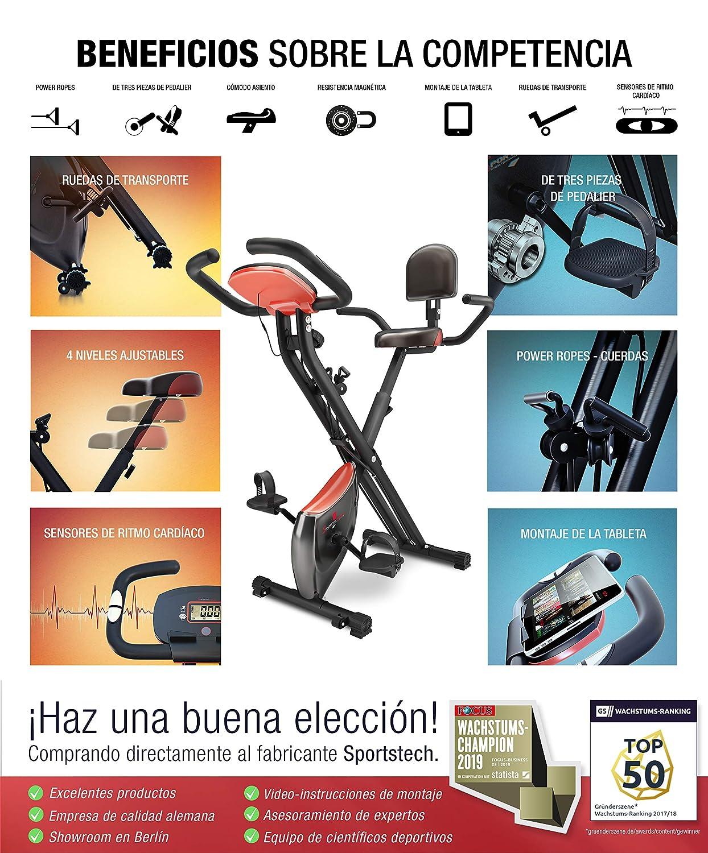 Sportstech Bicicleta estática Plegable F-Bike X100-B con Sistema de Resistencia Inteligente, Respaldo de inercia de 4kg, Soporte para Tableta, 4 ...