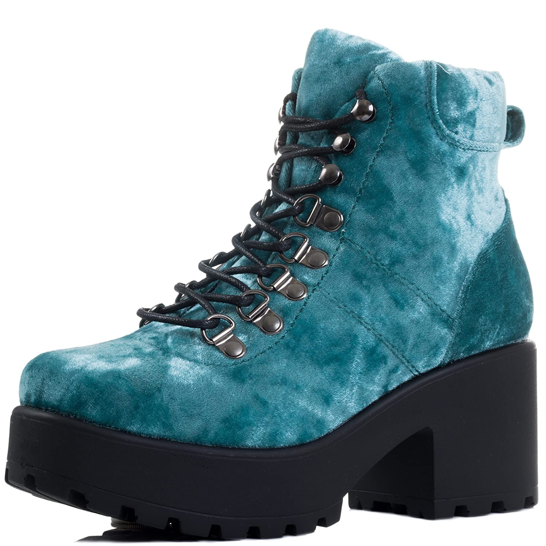 Spylovebuy Shotgun Block Heel Cleated Sole Lace up Platform Ankle US|Shotgun Boots B07CC9LZXK 6 B(M) US|Shotgun Ankle 3 - Blue Velvet Style bab07d