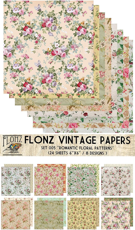 Amazon Com Paper Pack 24sh 6 X6 Romantic Vintage Floral