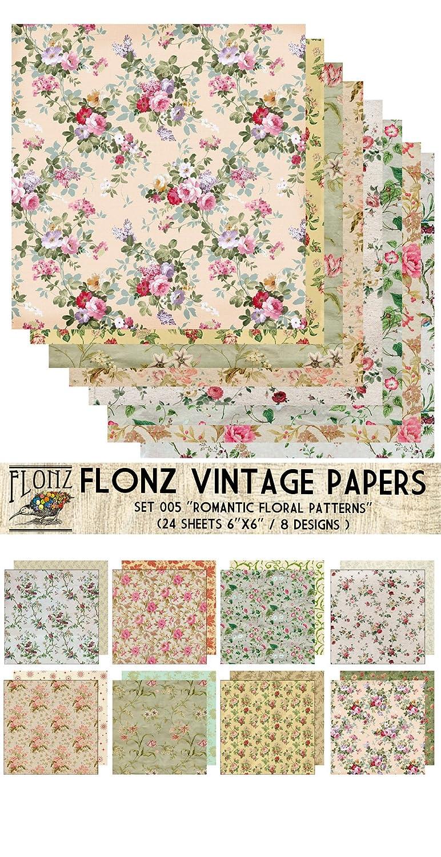 Amazon Paper Pack 24sh 6x6 Romantic Vintage Floral Pattern