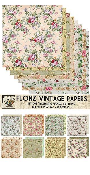 Paper Pack (24blatt 15x15cm) Romantic Vintage Floral Pattern FLONZ ...