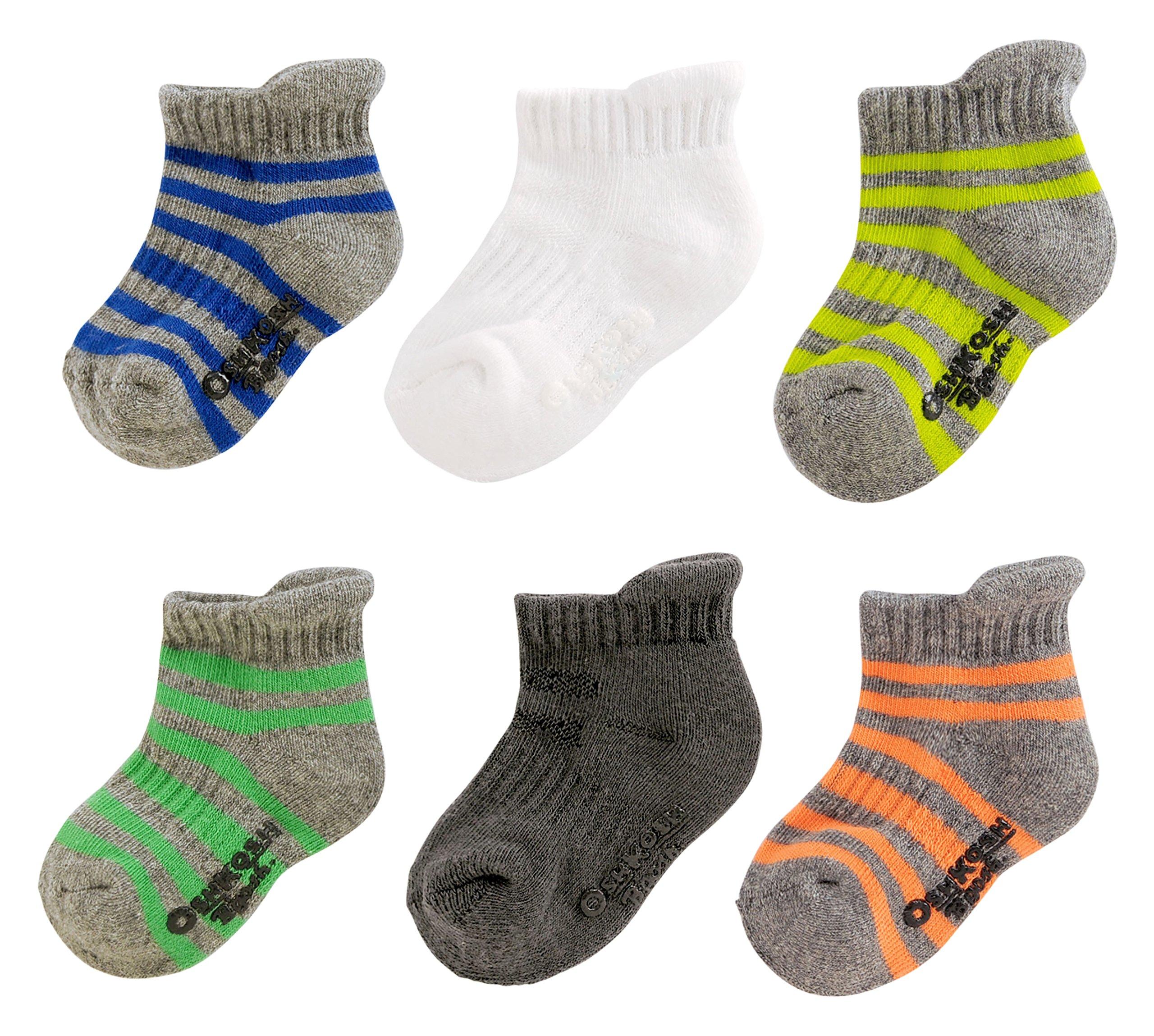 OshKosh B'Gosh Little Boys' Ankle Socks (6 Pack), Athletic Stripe, 8 and up