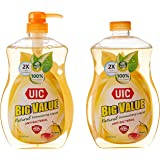 UIC Big Value Dishwashing Liquid Pump Anti-Bacterial, 1000ml (Pack of 2)