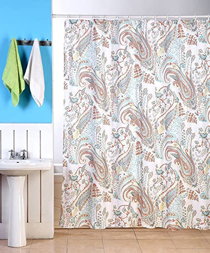 Zoey Fabric Shower Curtain, Paisley Floral Print, ...