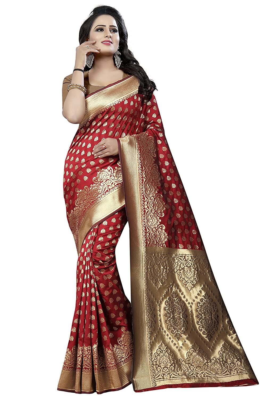 Red Kanchipuram Cotton Silk Printed Saree With Blouse Piece