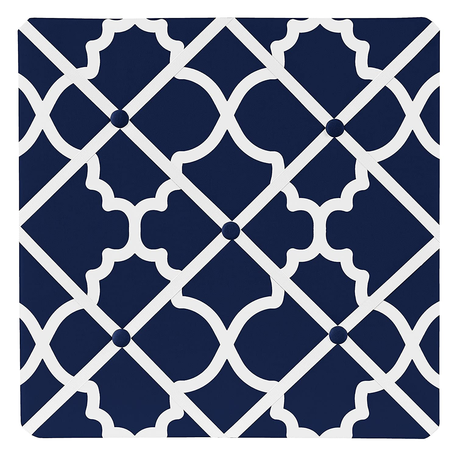 Navy Blue and White Modern Fabric Memory Memo Photo Bulletin Board for Trellis Lattice Collection by Sweet JoJo Designs
