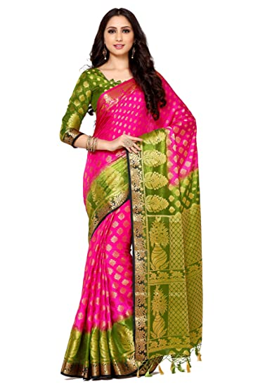 a270eee83418bd Image Unavailable. Image not available for. Colour  MIMOSA Women s Silk  Saree With Blouse ...