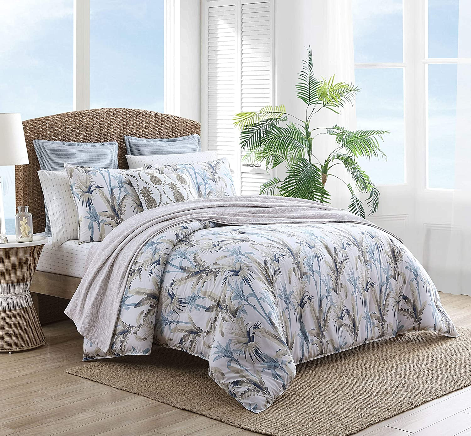 Tommy Bahama Home | Catalina Collection Cotton Ultra Soft Comforter, All Season Premium 3 Piece Bedding Set, Stylish Delicate Design for Home Décor, Full/Queen, Blue