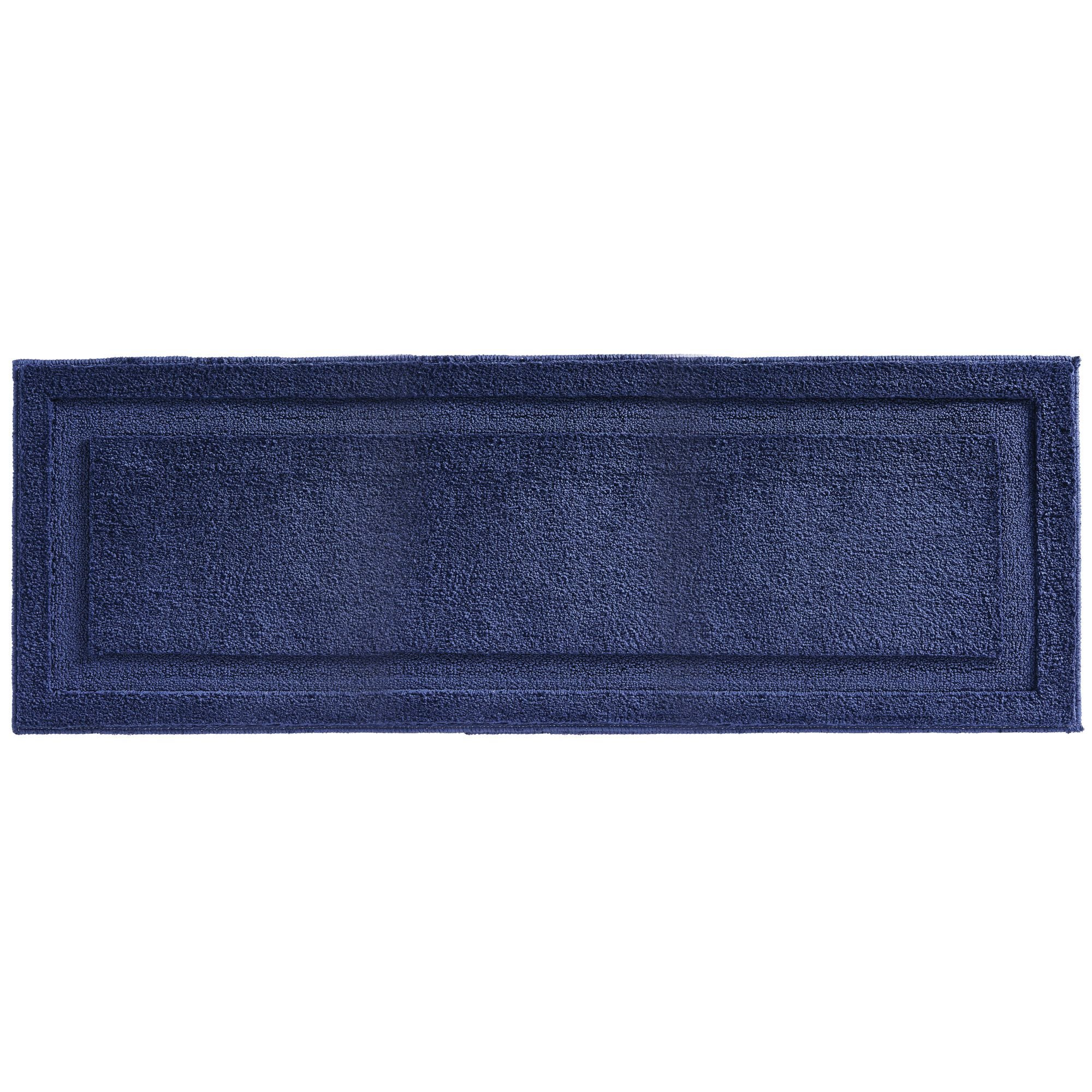 mDesign Soft Microfiber Polyester Non-Slip Extra-Long Spa Mat/Runner, Plush Water Absorbent Accent Rug for Bathroom Vanity, Bathtub/Shower, Machine Washable - 60'' x 21'' - Navy Blue