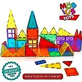 Magnetic Building Blocks, 60+6 Extra Magnetic Tiles, 3D Magnet Building Toys set, Educational Construction Magnetic Blocks for Kids, Strong Metallic Rivets, Varied Shapes, Translucent Rainbow Colors