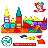 Magnetic Building Blocks. 60+6 Extra Pieces Set of 3D Magnet Building Tiles. Educational Construction Magnetic Toy for Kids. Strong Metallic Rivets. Varied Shapes in Translucent Rainbow Colours