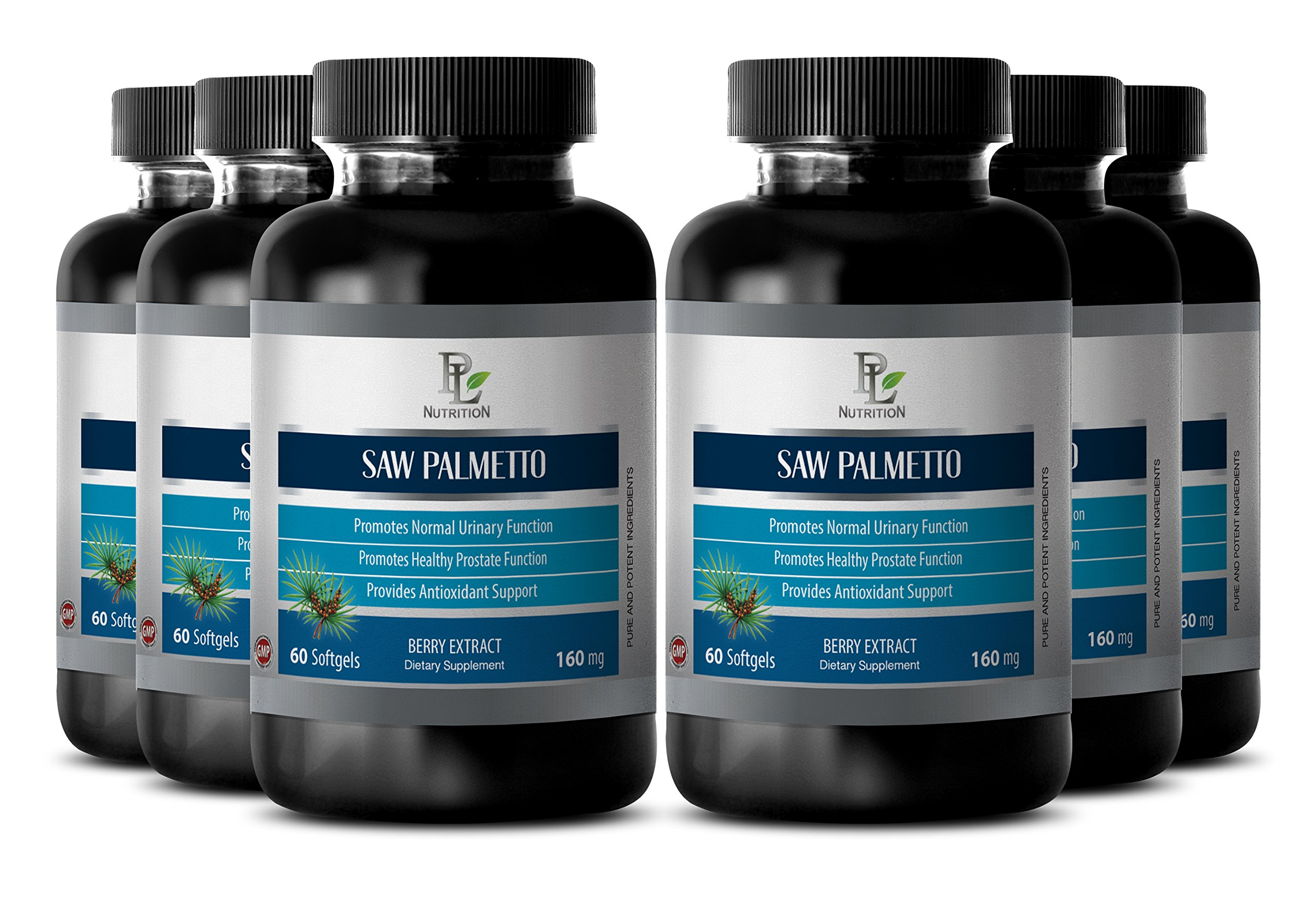 Libido supplements men - SAW PALMETTO BERRY EXTRACT 160Mg - Male prostate health - 6 Bottle 360 Softgels by PL NUTRITION
