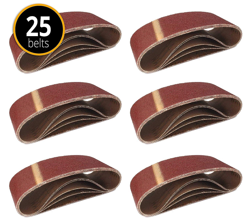 25 Piece Fabric Sanding Belts 100 x 560 5 Each of 40/60/80/120/180 Grit Sanding Belt for Belt Sanders FD-Workstuff