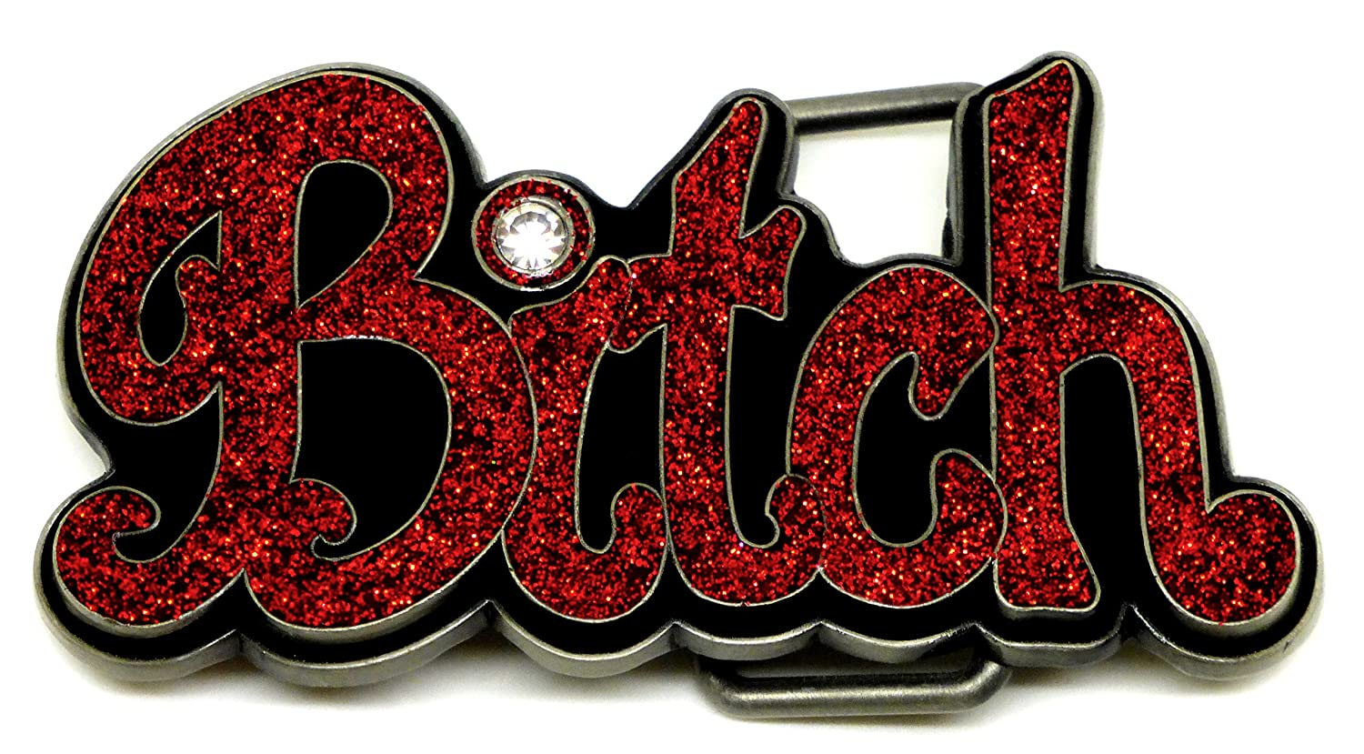 Bitch Belt Buckle 3D Red Coloured With Glitter Design Authentic Siskiyou Branded Product SK GB 19