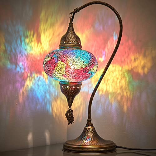 18 Variations CopperBull 2020 Turkish Moroccan Tiffany Style Handmade Colorful Mosaic Table Desk Bedside Night Swan Neck Lamp Light Lampshade, 19