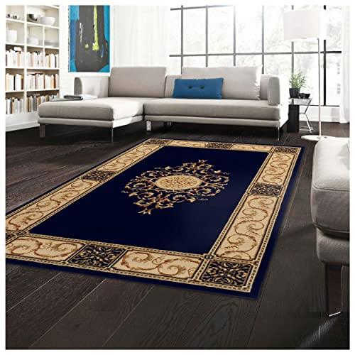 Superior Elegant Medallion Area Rug, 3 x 5 , Midnight Blue