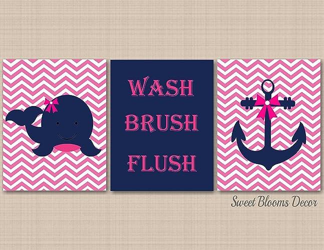 Pink Nautical Wall Art,Nautical Wall Art,Nautical Bathroom Wall Art,Whale  Anchor