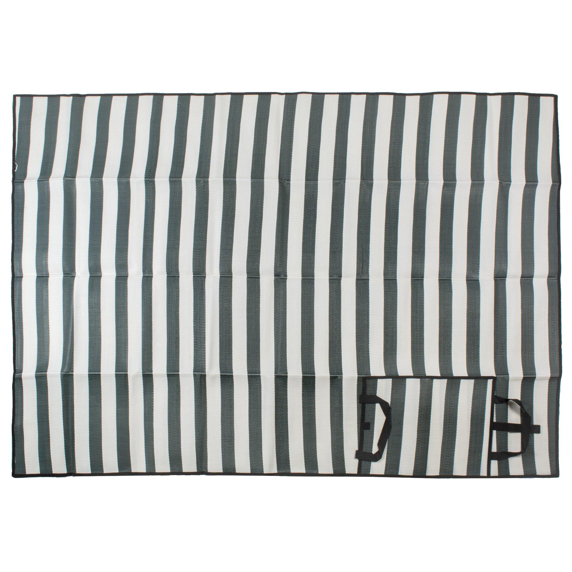 J & M Home Fashions Cabana Stripe Picnic Mat, 60x78, Dark Green by J&M Home Fashions