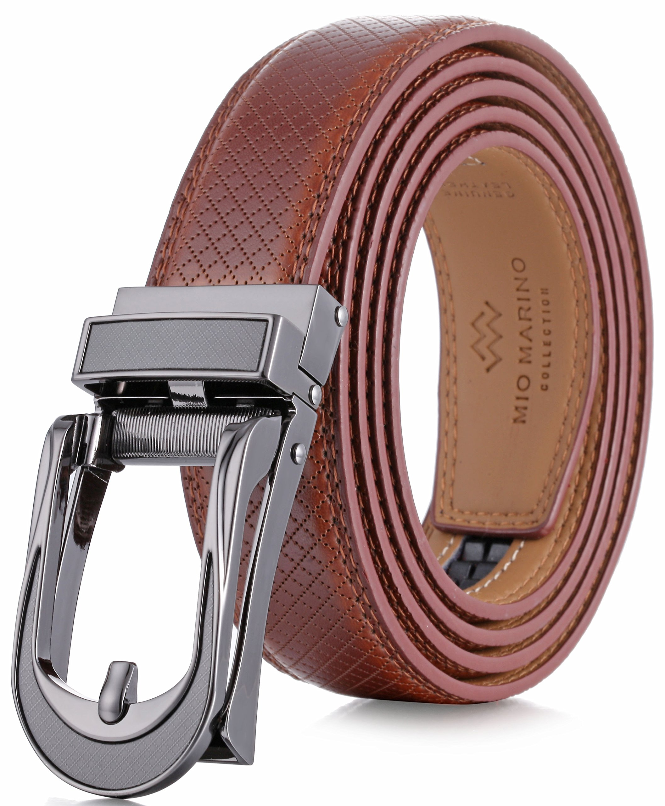 abd3fd8556d Marino Avenue Mens Genuine Leather Ratchet Dress Belt with Open Linxx  Leather Buckle
