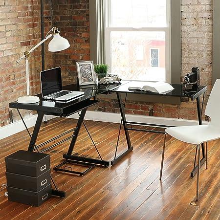 Walker Edison D51Z29 Soreno L-Shape Desk, 29 x 20 x 51 , Black Clear