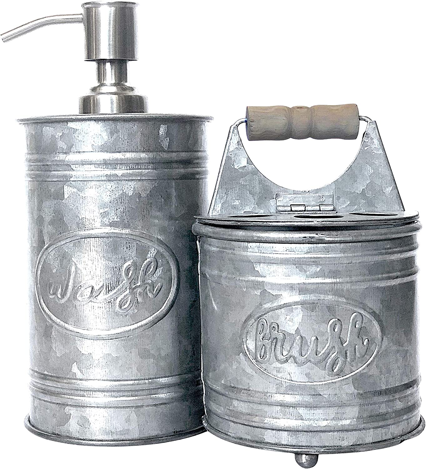 Autumn Alley Galvanized Bathroom Accessories Set - Includes Farmhouse Hand Soap Dispenser and Rustic Toothbrush Holder | Rustic Farmhouse Decor for Bathroom Countertop | Farmhouse Bathroom Decor