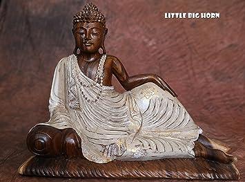 little big horn buddha liegend holz weiss gold braun 45 cm hoch