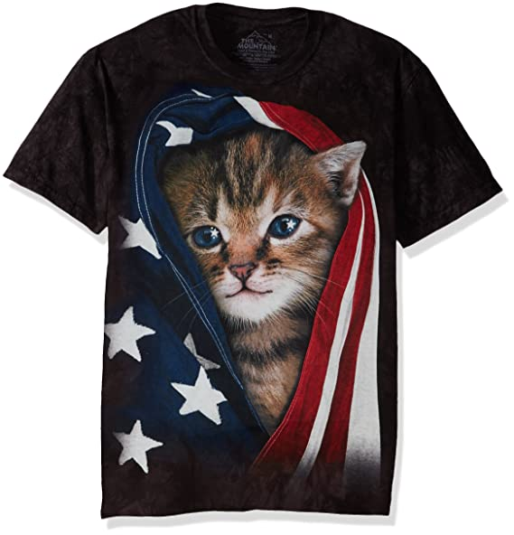 Amazon.com  The Mountain Men s Patriotic Kitten Adult T-Shirt  Clothing 77c920995979