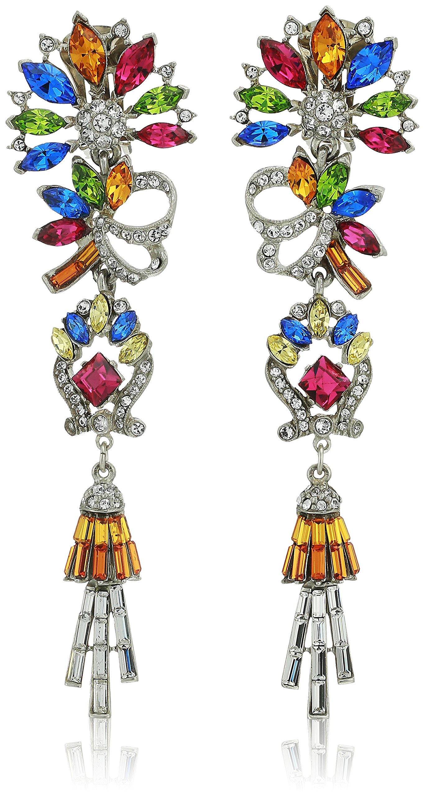 Ben-Amun Jewelry Crystal Collage Swarovski Bridal Wedding Multi-Color Clip Drop Earrings, 4.5'' Length, 1.2'' Width