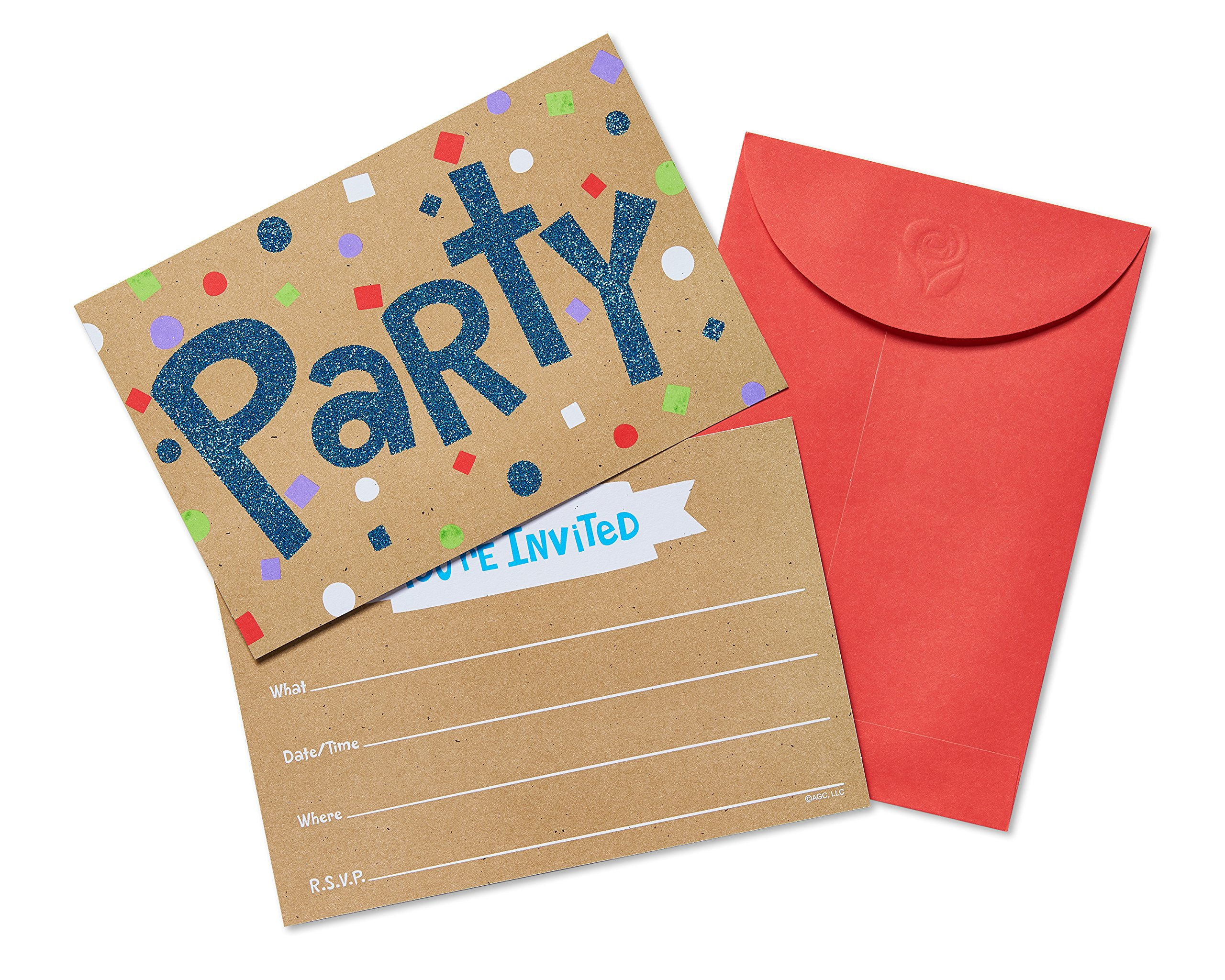 American Greetings 20 Count Confetti Glitter Fun Party Invite Postcards, Multicolor