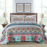 NEWLAKE Cotton Bedspread Quilt Sets-Reversible Patchwork Coverlet Set,Boundless Universe Pattern,King Size