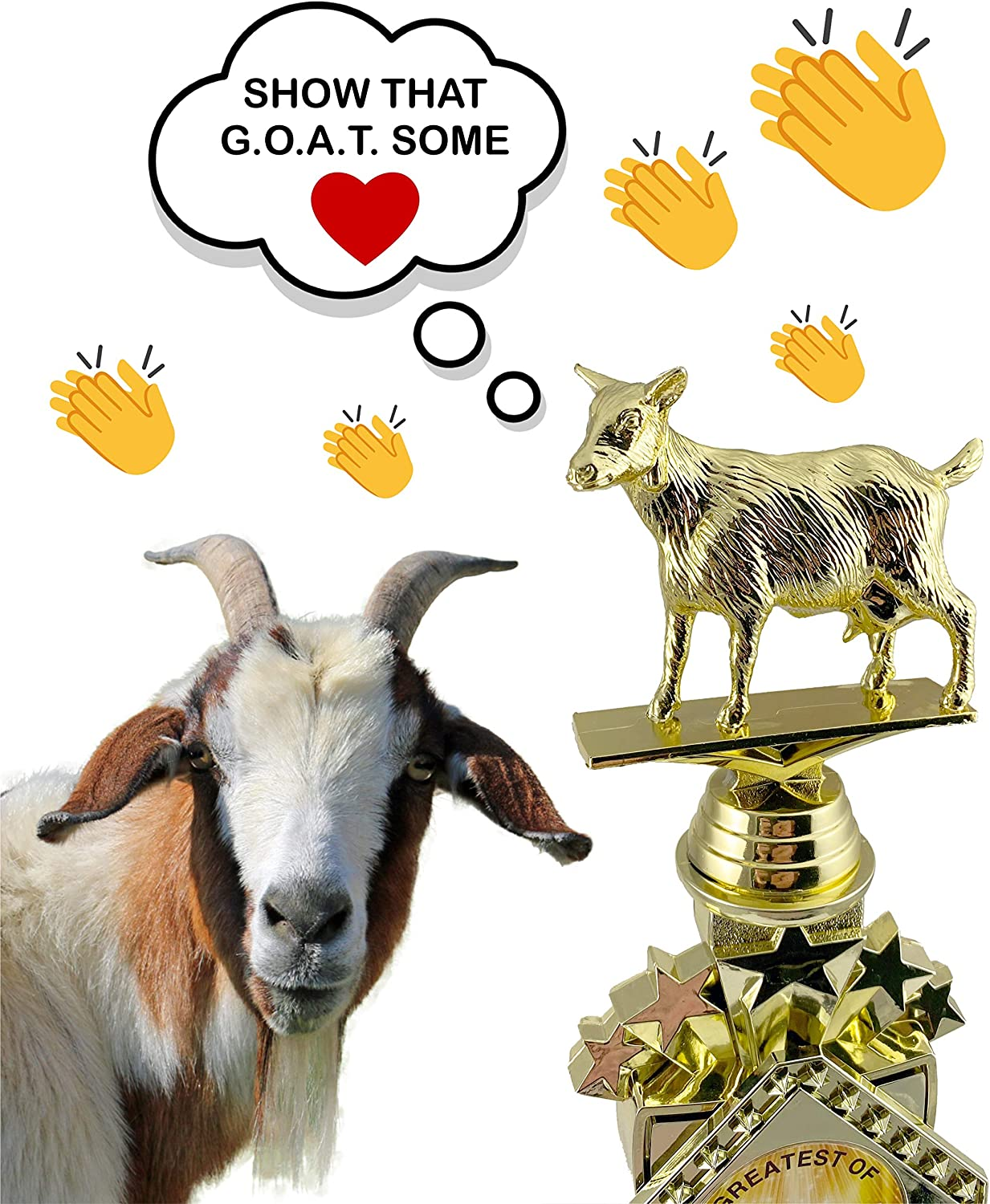 Goat Greatest of All Time Trophy with 3 Lines of Custom Text