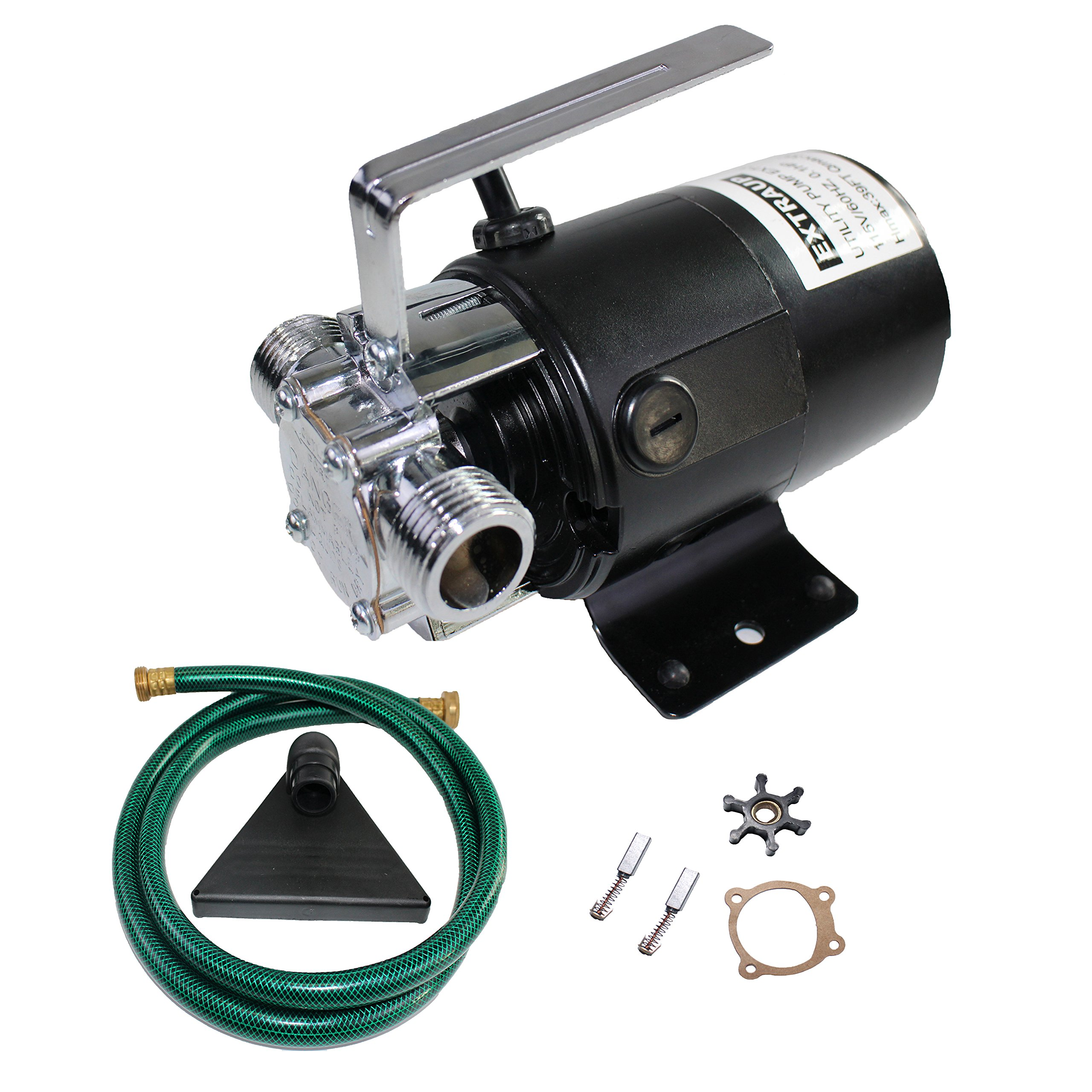 EXTRAUP 115Volt 330 GPH Portable Low Suction Electric Water Transfer Revmoval Utility Pump With Suction Hose Kit