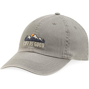 a26e276d5b5eb7 Life Is Good Chill Cap Lig Mountains Hat, Slate Gray, One Size:  Amazon.co.uk: Sports & Outdoors