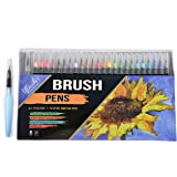 Watercolor Real Brush Pens, 24 Paint Markers + 1 Water Brush Pen, Professional Watercolor Pens Set for Painting, Coloring, Calligraphy & More, Acid Free, Asserted Colors