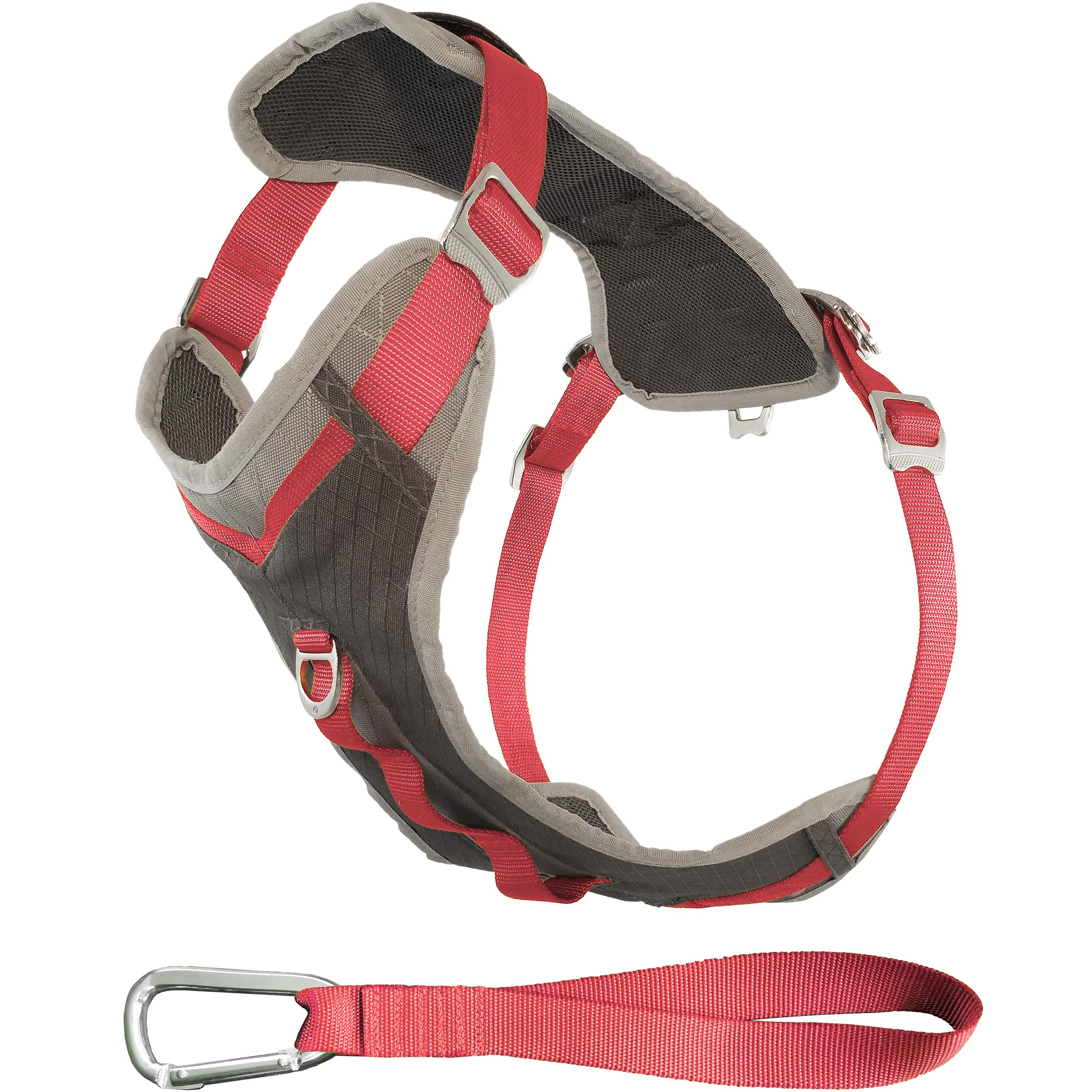 Kurgo Dog Harness for Large, Medium & Small Dogs | Reflective Harness for Running, Walking & Hiking | Everyday Adventure Pet Journey Harness | Grey/Coral, Medium by Kurgo