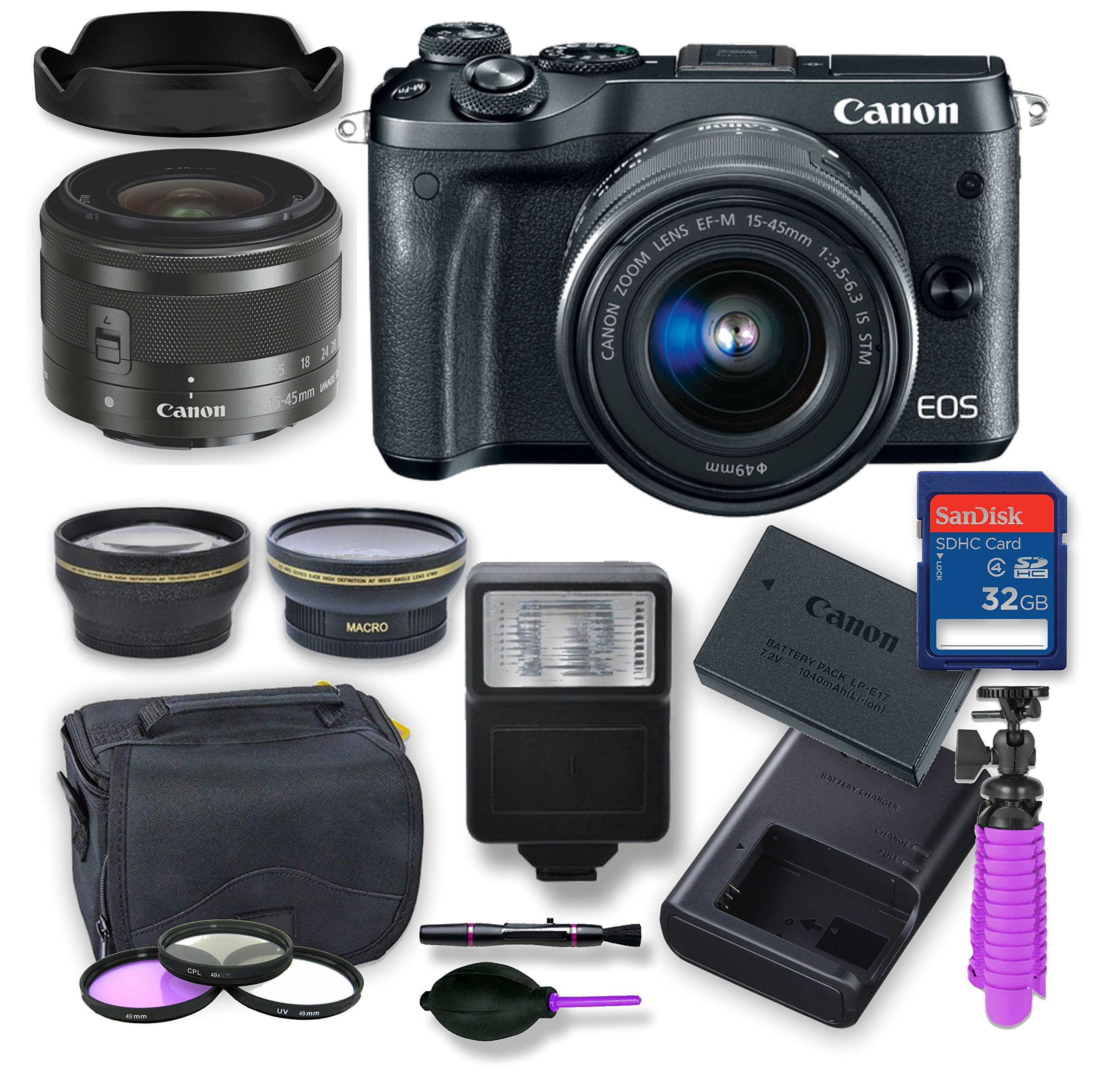 Canon EOS M6 Mirrorless Digital Camera Kit with 15-45 mm Canon Lens + Wide Angle and Telephoto lens, Digital Remote Flash, Canon Battery, 32 gig Memory Card, 3 Filter Kit, Case, Tripod & Cleaning Kit