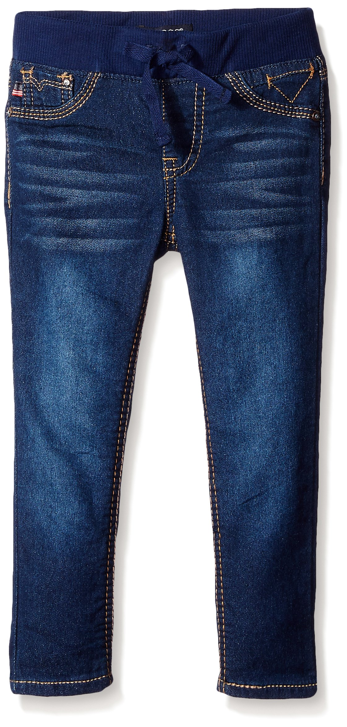 VIGOSS Girls' Knit Waist Skinny Denim Jean, Trucker, 10