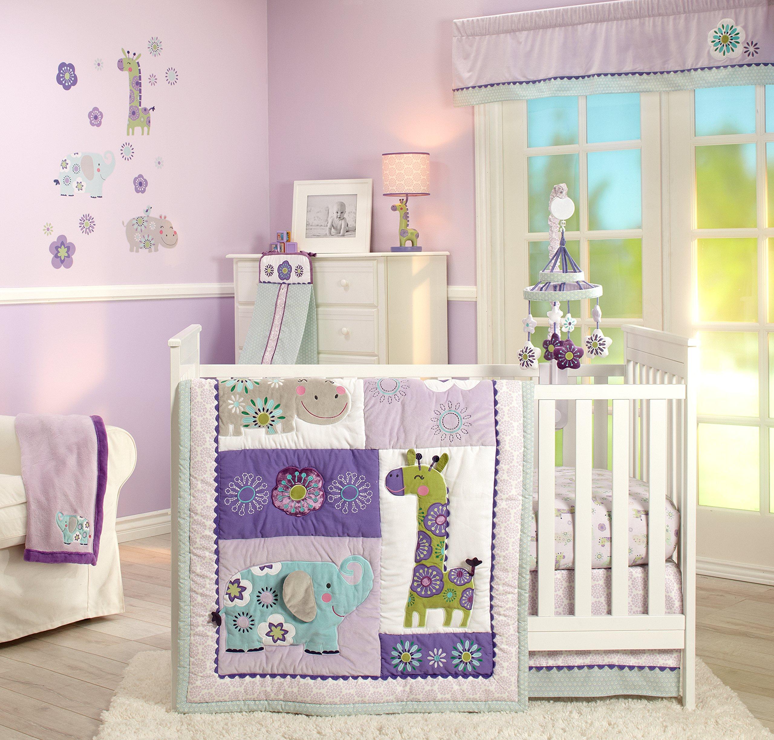 Carter's Zoo Jungle/Safari 4 Piece Nursery Crib Bedding Set, Lavender/Aqua/White