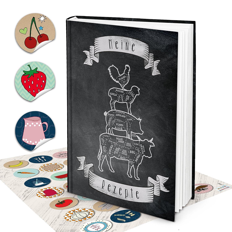 Grande Hard Cover XXL libro de recetas Blanco y Negro Libro ...